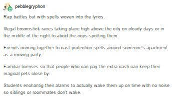 Also a handful of neat urban magic concepts to make your world feel more fleshed out