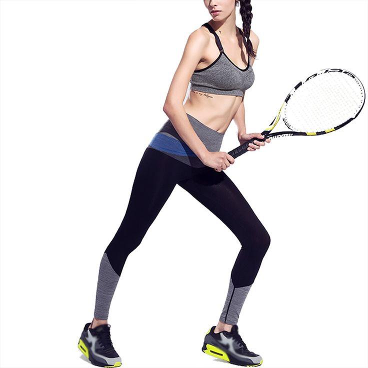 Women Sports Yoga Pants Elastic Women Running Trousers Gym Dry Quick Leggings patchwork Calzas Deportivas Mujer #Affiliate