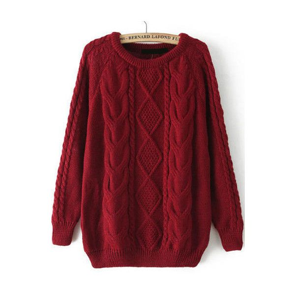 Cable Knit Loose Wine Red Sweater ($16) ❤ liked on Polyvore featuring tops, sweaters, shirts, outerwear, red, long sleeve tops, knit sweater, red pullover sweater, red long sleeve shirt and red shirt
