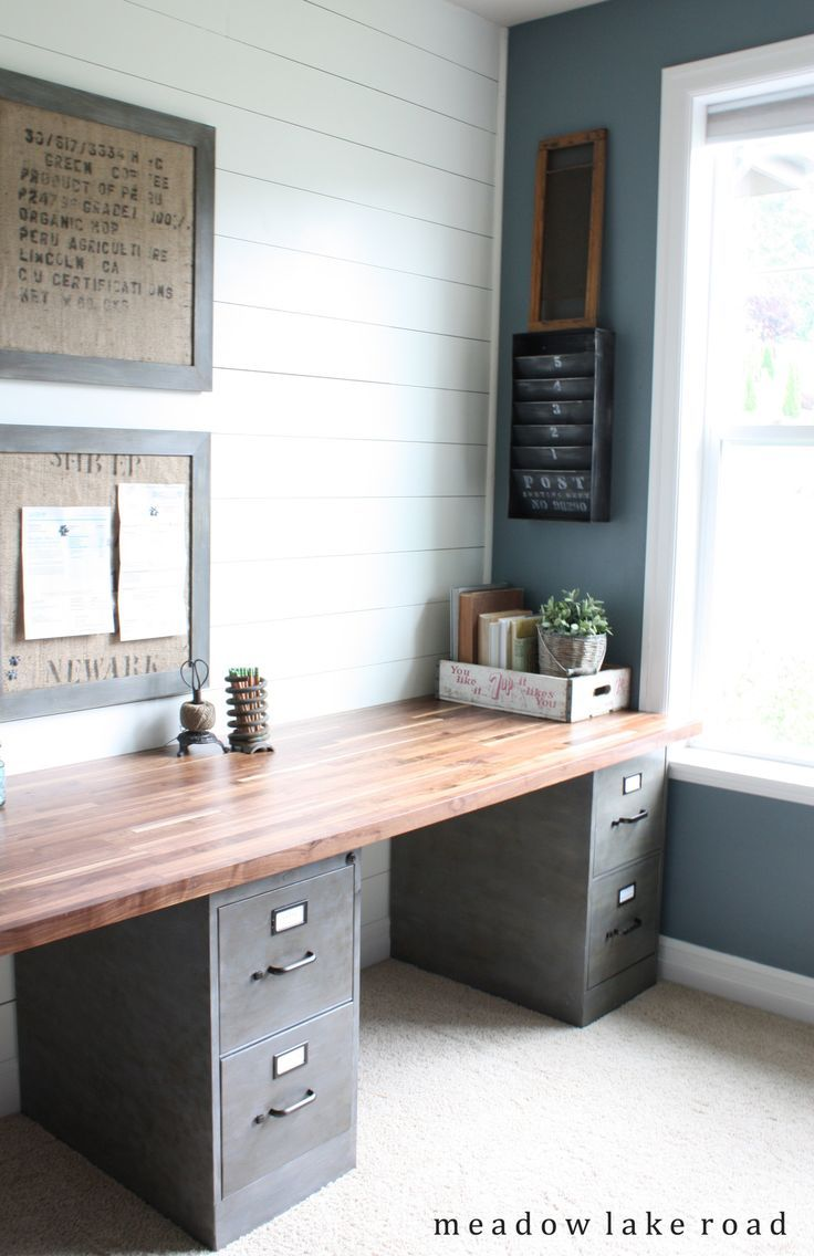 Easy DIY Desk for Two Idea: File Cabinets with Wood Top