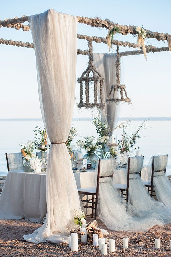 Beautiful Tablescape | Beach Wedding | Linens by Have A Seat Decor | Wedluxe
