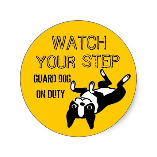Boston Terrier Watch Your Step Round Stickers