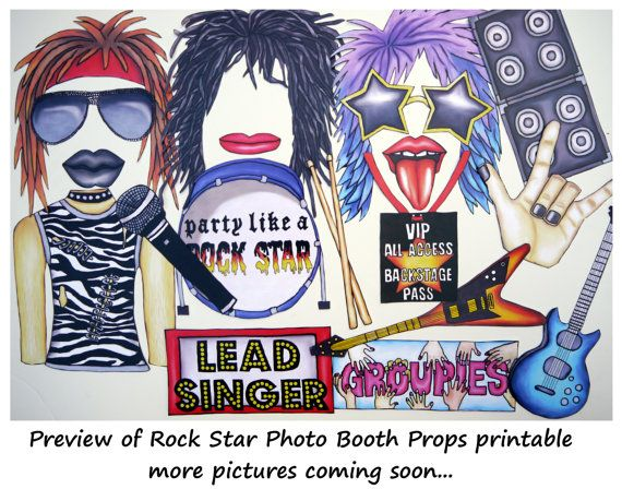 Rock Star photo booth props - perfect for your music idol legend party, to celebrate your fave classic rock band or to party like a rockstar...