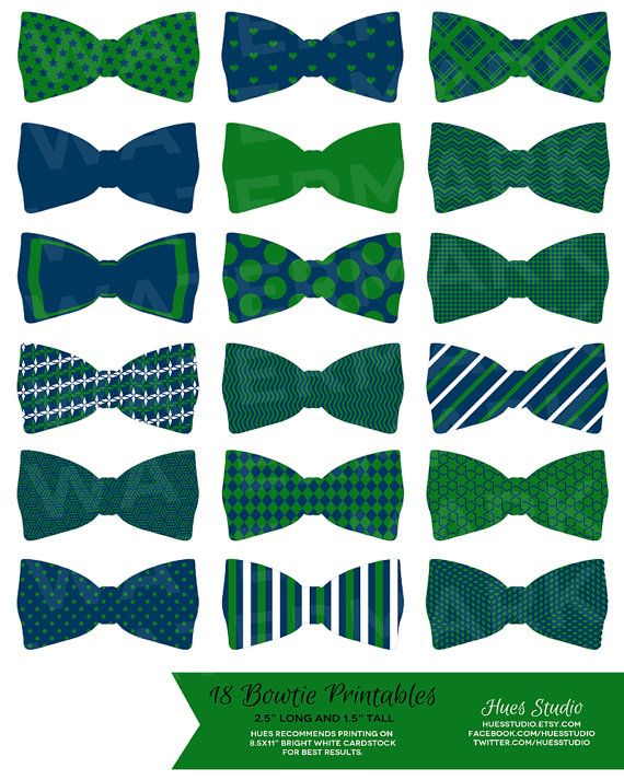 18 Kelly Green Navy Blue + White Bowties! Glue them to toothpicks and stick them in treats on your dessert table or string them up as garland! $3.50!!