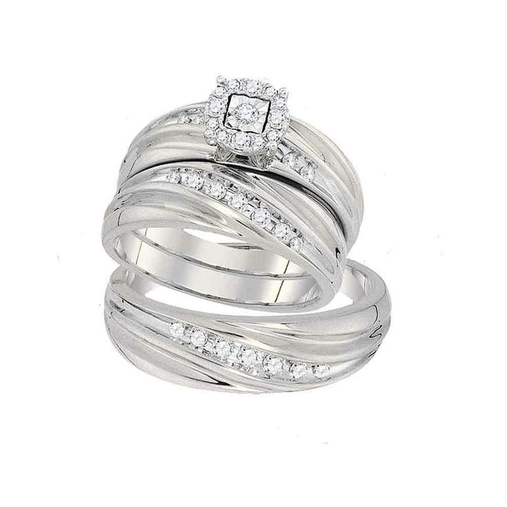10k White Gold Round Diamond Mens Women's Matching Trio Wedding Engagement Bridal Ring Band Set