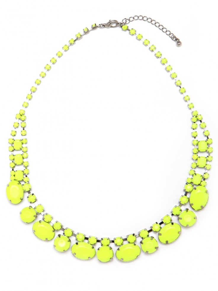 Yellow Statement Necklace: Phospho Necklaces, Statement Necklaces, Neon Accessories, Neon Necklaces, Yellow Necklaces, Beautiful Women, Beautiful Clothing, Bright Colors, Neon Yellow