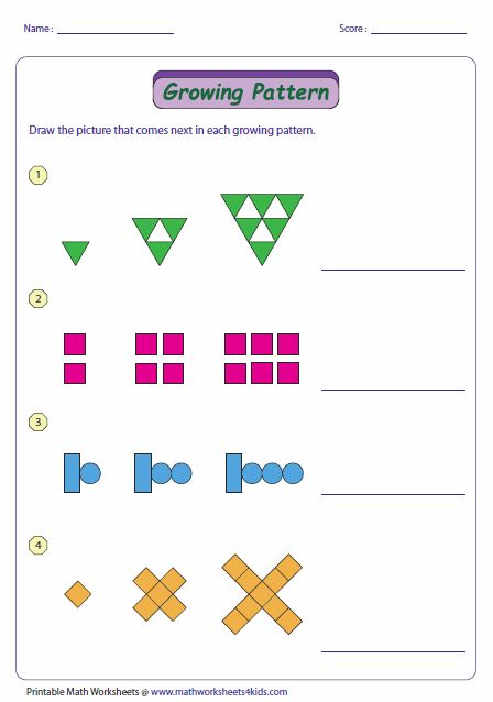 This activity helps analyze how growing and repeating patterns are generated, and also has the student continue the pattern.