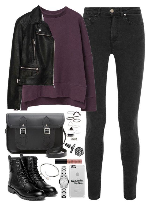 Botas negras  Jeans negros  Sueter morado  Chamarra negra