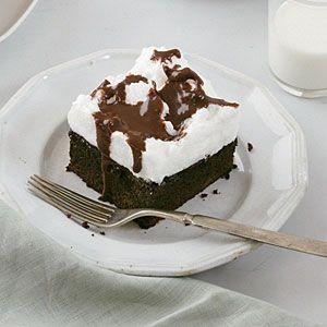 Mocha Cake with Fluffy Meringue Topping | MyRecipes.com