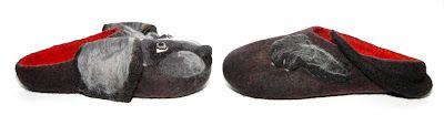 felting slippers dog