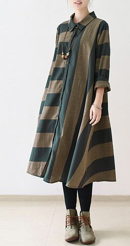 Navy strip linen dress loose spring dresses fall caftans