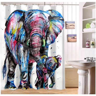 Bathroom Quality Rug Directly From China Cabinet Towel Rack Suppliers New Custom Elephant And Baby Modern Shower Curtain