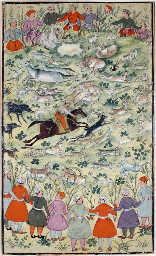 Babur kills blackbuck in a hunting circle