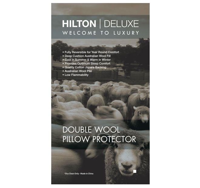 Double Fleece Wool HILTON DELUXE  Features: Australian wool pile top Quality cotton Japara backing Zip closure Provides optimum sleeping comfort Low flammability Luxury and warmth of wool in winter Cool comfort of cotton in summer Dry clean only  Dimensions: x1 Standard Pillow Protector - 48cm x 72cm - #protectors