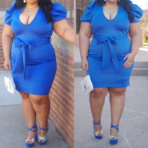 Price Firm Dress 3x fits 20/22 ..............   dress is Royal blue with puff sleeves worn once for pics. In perfect condition Boutique Dresses