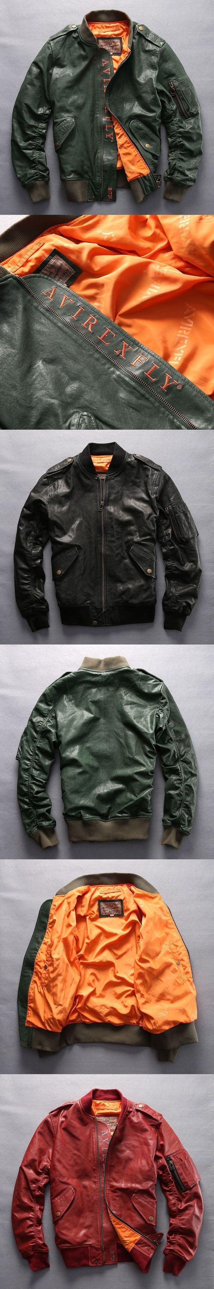 Avirex fly fashion baseball jacket men army green genuine leather flight jacket men black red bomber jacket men's pilot coat