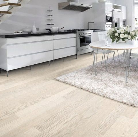Light Wood Floor White Kitchen Kahrs Linnea Dome Wood