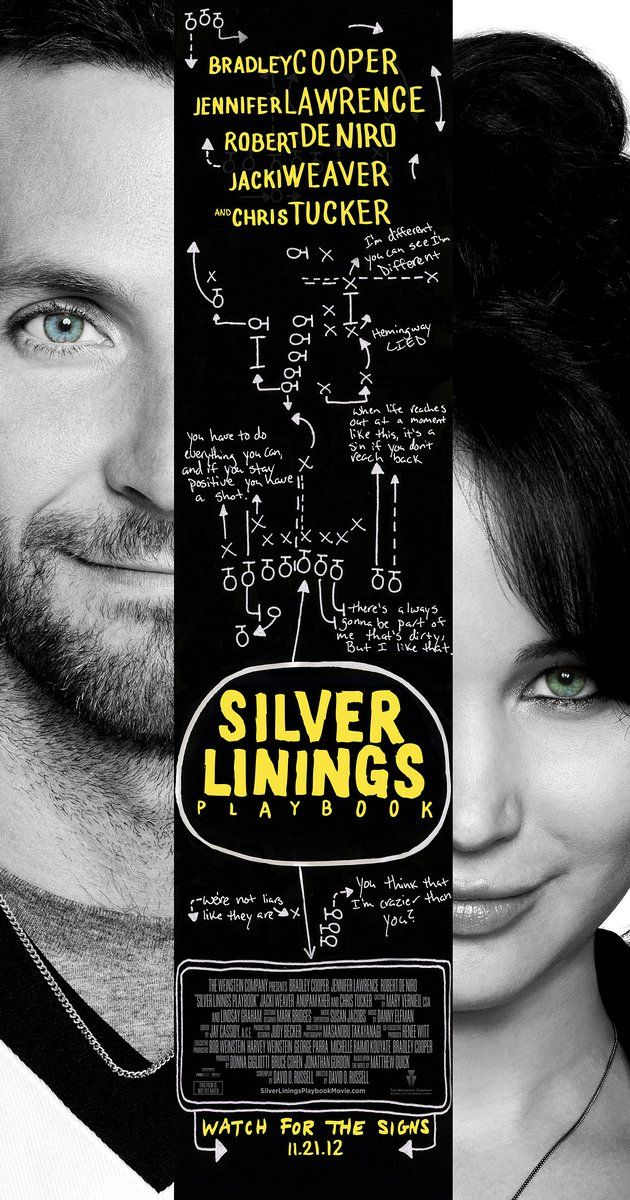 Directed by David O. Russell.  With Bradley Cooper, Jennifer Lawrence, Robert De Niro, Jacki Weaver. After a stint in a mental institution, former teacher Pat Solitano moves back in with his parents and tries to reconcile with his ex-wife. Things get more challenging when Pat meets Tiffany, a mysterious girl with problems of her own.