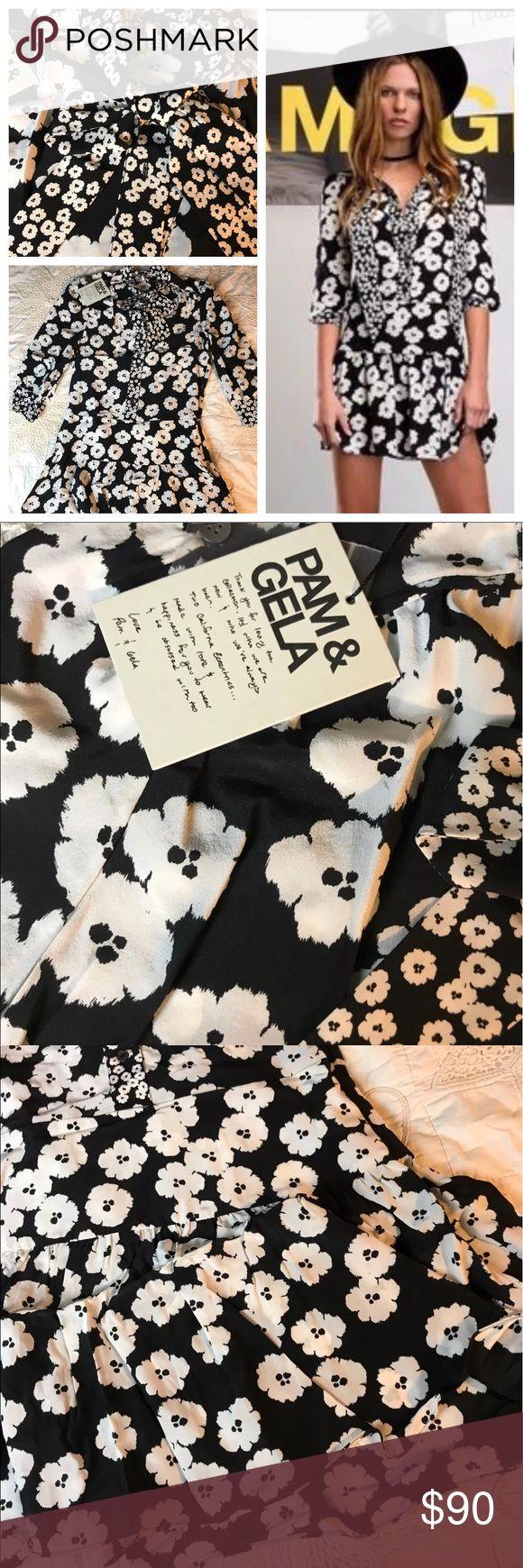Pam & Gela 100% Silk Dress Black Poppy Print S Pam & Gela 100% Silk Dress Black Poppy Print Boho Chic New With Tags Small Ties at neck side zip   Stock BC7bag5 Pam & Gela Dresses Mini