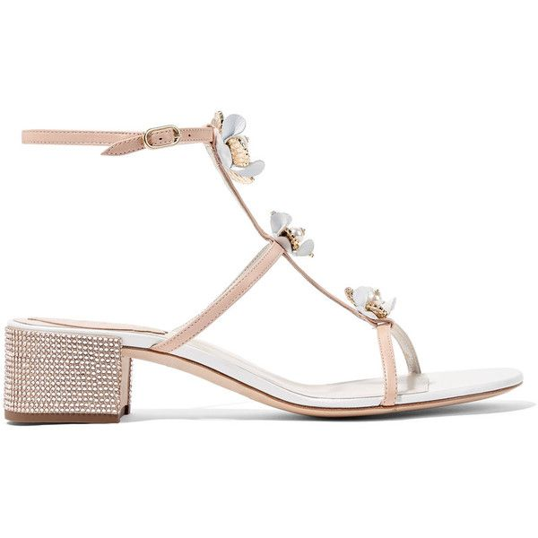 René Caovilla Embellished leather sandals (1 372 AUD) ❤ liked on Polyvore featuring shoes, sandals, neutral, mid-heel sandals, ankle wrap sandals, mid heel sandals, ankle strap mid heel sandals and buckle shoes