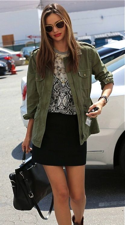 different color jacket Miranda Kerr street style