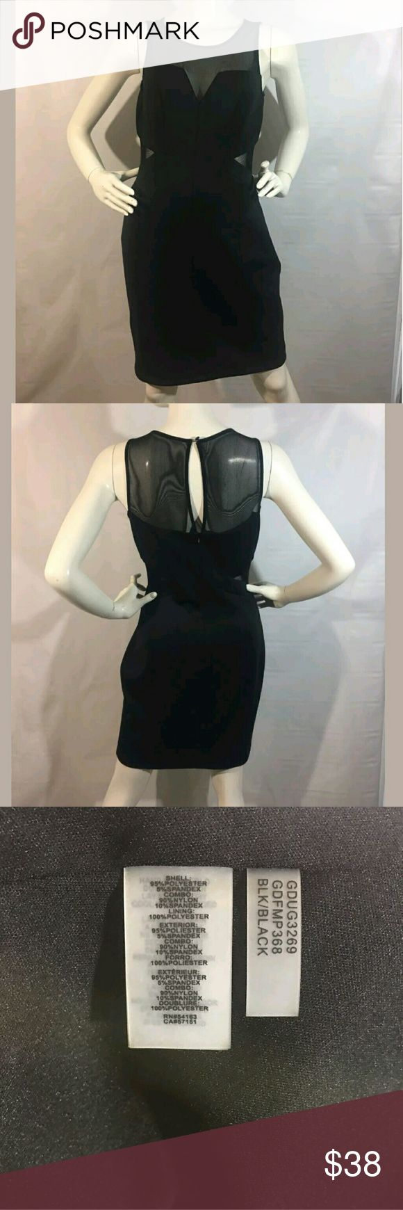 Guess Dress Size 10 Sweetheart Mesh Neckline Guess Dress Women's Size 10 Sweetheart Mesh Neckline Inset Bodycon Scuba Black   Excellent used condition.  95% Polyester 5% Spandex  Lining 100% Polyester.   16 inches pit to pit.  29 inch waist.  32 inch hips.  35 inches long.   LB Guess Dresses
