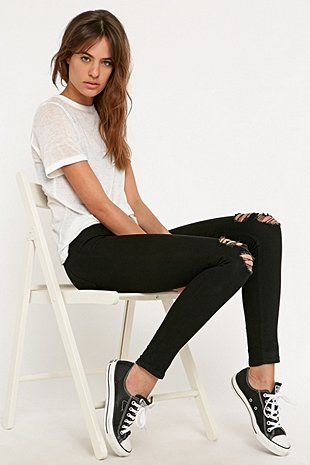Cheap Monday Spray On High-Rise Rip Jeans in Black
