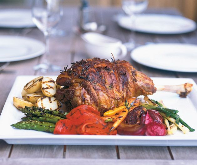 Roast lamb leg with preserved lemon and chargrilled vegetables from Matt Moran's Lantern Cookery Classics.