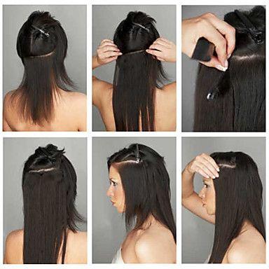 "70g (7pcs)/set 8""-16"" Clip In Brazilian Hair Extensions clip in human hair extensions Straight Hair 2016 - $18.99"