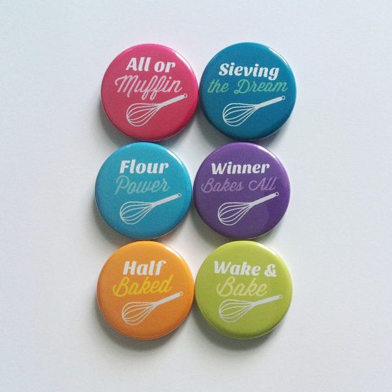 Baking Puns  Pinback Button 6 Pack by ButtonNook on Etsy, £3.00
