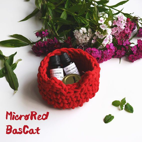 Micro red BasCat - Think of all small things that kicks around your apartment like office supplies or hair ties and all this hairpins. Imagine that you can keep it all together in one storage. Imagine the cutest storage ever - crochet basket small storage red basket for cat lovers