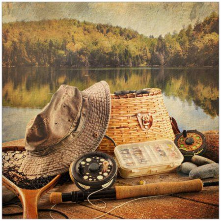 Fly Fishing Equipment on Deck with a Vintage Look Photography by Eazl, Size: 20 x 20, Orange