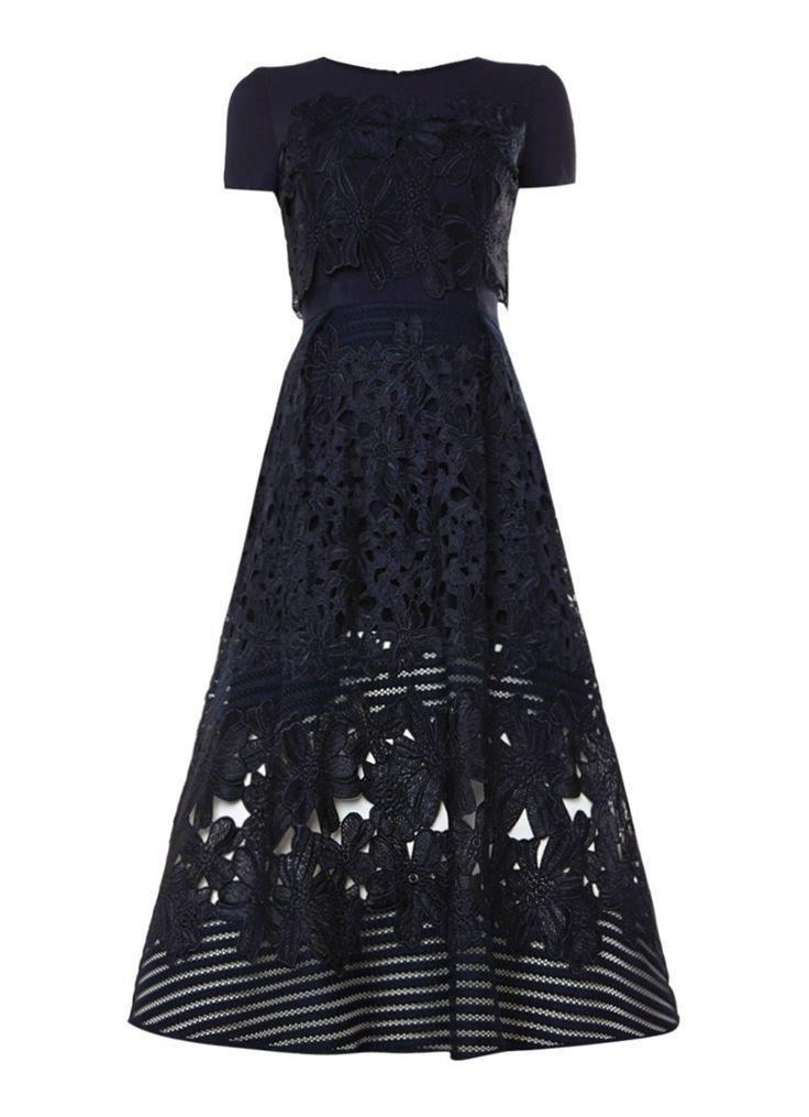 Ted Baker A-lijn midi jurk met opengewerkt bloemendessin • de Bijenkorf