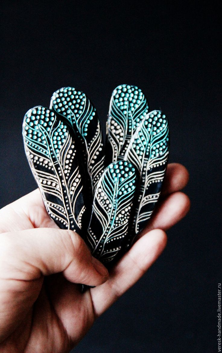 "Polymer clay ""Feather"" brooch"