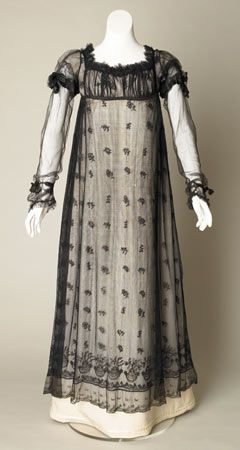 Black silk net evening dress, English, about 1817-1820. (Under-dress is a reproduction made of silk.)