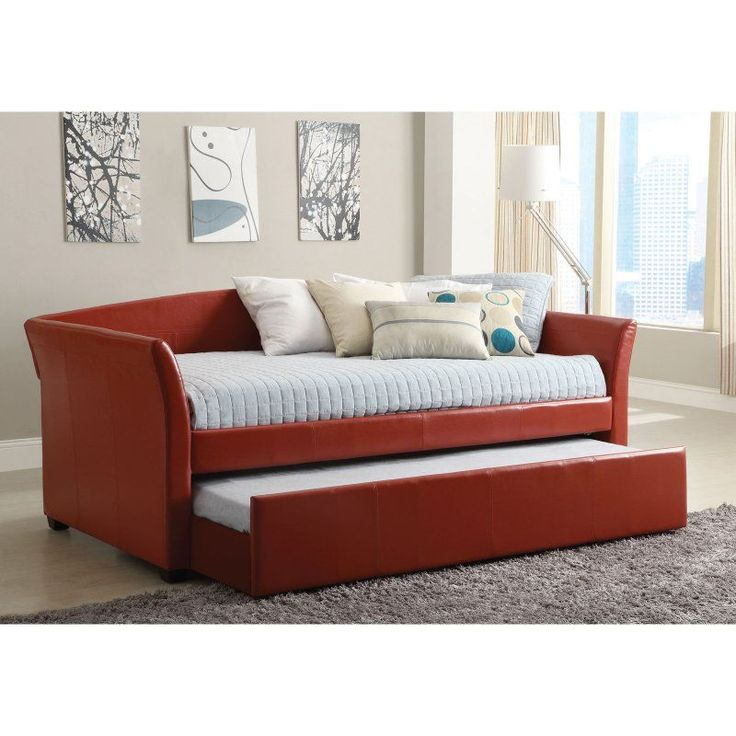 furniture of america leatherette upholstered daybed with trundle idf1956 - Daybed And Trundle.Saveemail. Kings Brand Silver Finish Metal