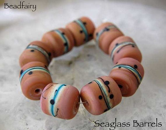 9 Sea Glass Barrels Lampwork Glasperlen by Beadfairy Lampwork