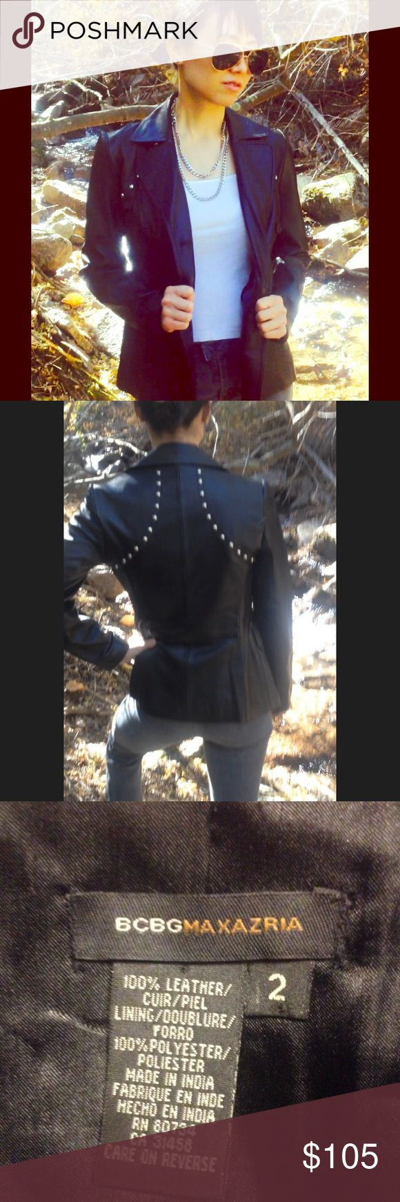 BCBG Max Azria black leather jacket Gorgeous 100% leather, double breasted, fully lined, black leather BCBG Max Azria jacket. Stud details, functional pockets, and a true to size fit. The jacket is a beautifully made, trend-led piece that compliments a variety of different tastes -!: wardrobes. BCBGMaxAzria Jackets & Coats