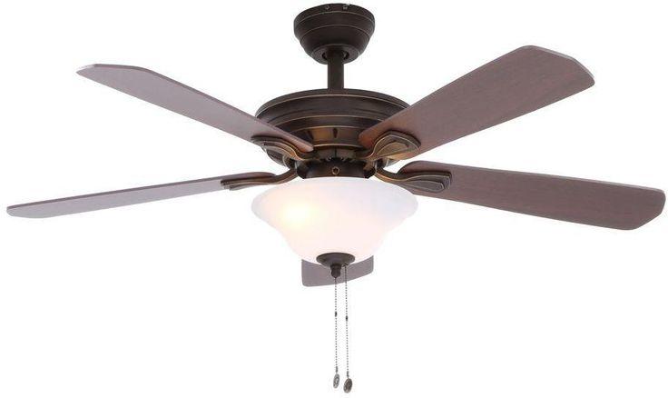 Hampton Bay Wellston 44 in. Tri-Mount Oil Rubbed Bronze Ceiling Fan w/ Light Kit #HamptonBay