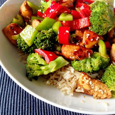 Healthy Living in Heels dinner recipe: sesame chicken with brown rice! clean eating recipes, delicious