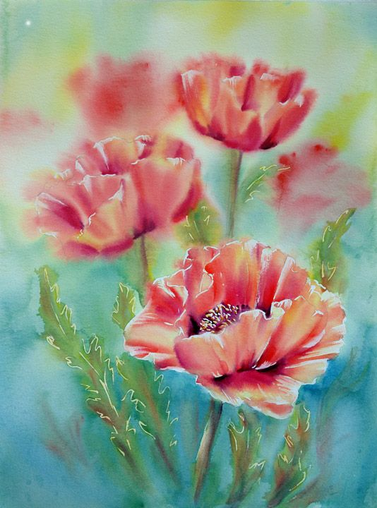 """""""Soft Poppies"""" watercolor by Marianne Broome"""