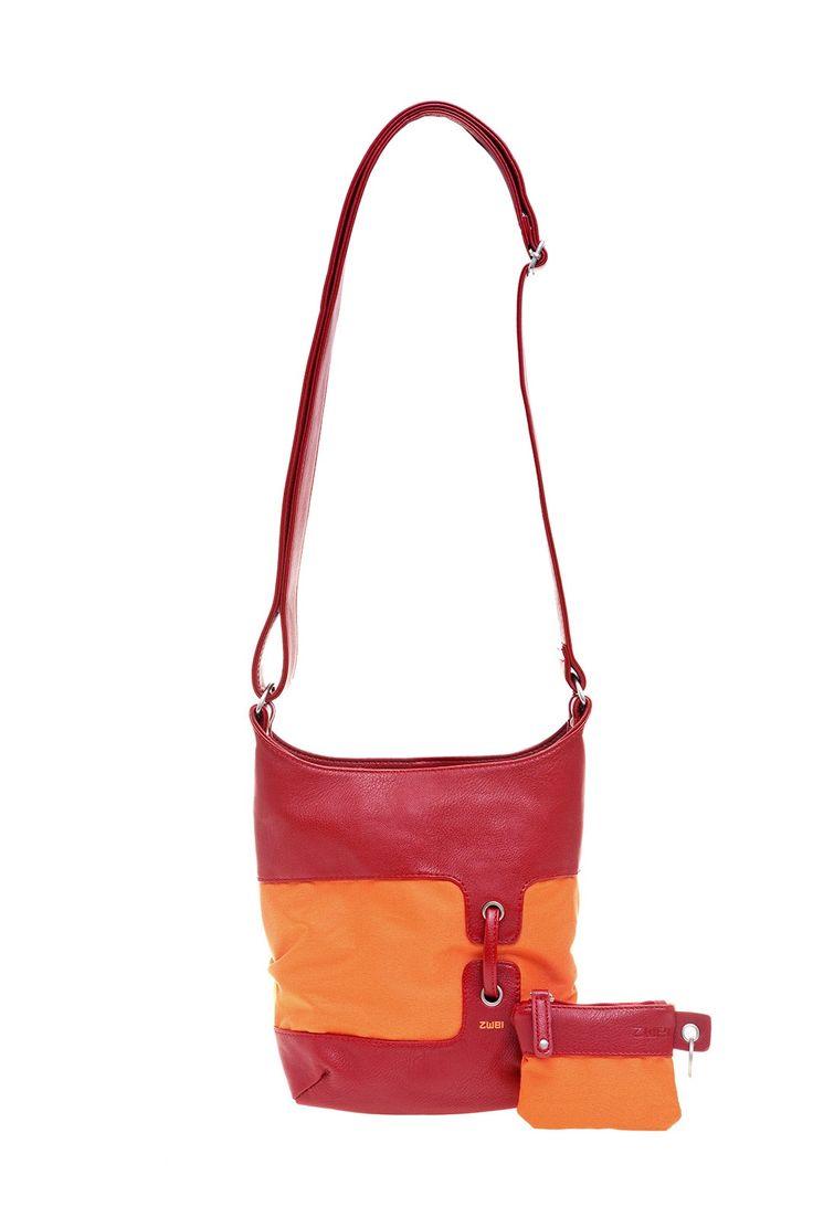 Frauentaschen :: BONJOUR :: B8 | ZWEI Taschen Handtasche :: Nylon :: lederfrei :: Materialmix :: rot :: orange