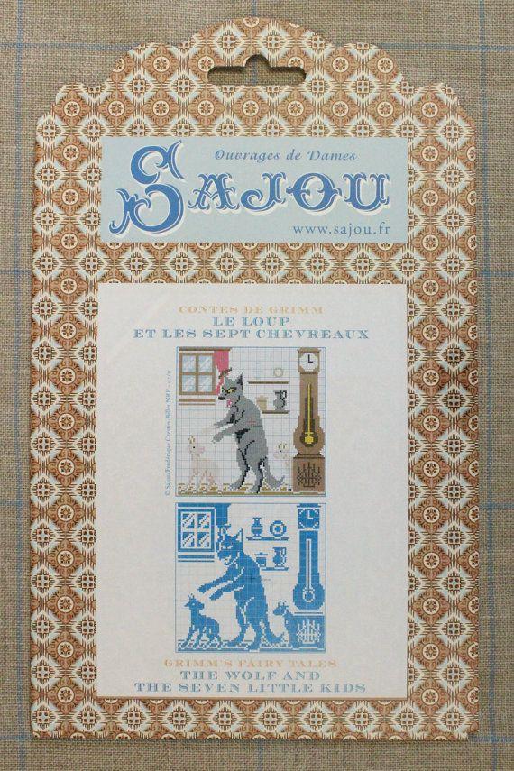 De Wolf en de zeven kinderen - sprookje van Grimm te cross-stitch