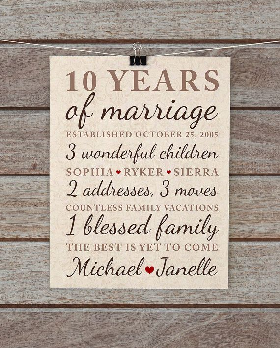 10th Wedding Anniversary Gift Ideas For Couple : + ideas about Tenth Anniversary Gift on Pinterest 10th anniversary ...