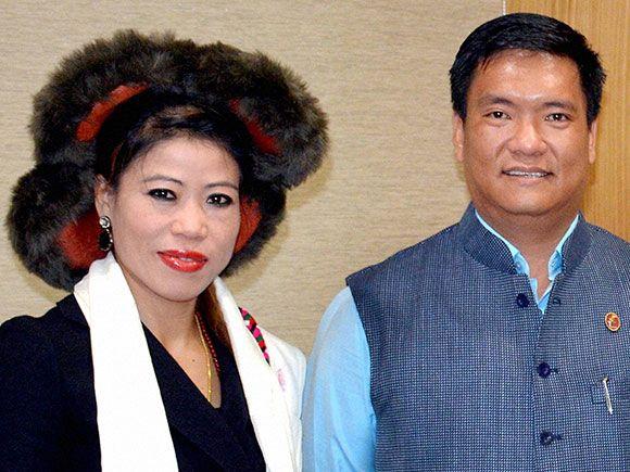 Boxer and Rajya Sabha MP, MC Mary Kom with  Chief Minister of Arunachal Pradesh Pema Khandu