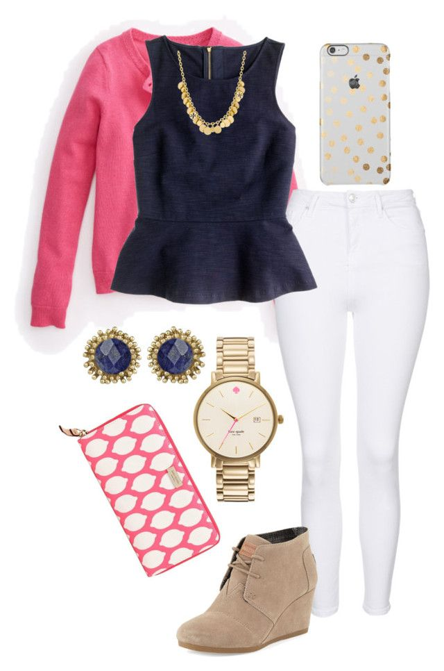 """Sunday morning outfit ✝"" by madelyn-abigail ❤ liked on Polyvore featuring moda, Vineyard Vines, Topshop, J.Crew, TOMS, Kate Spade, Kendra Scott, Tory Burch, women's clothing e women's fashion"