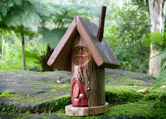 Wooden Fairy House with Opening Red Door Round Resin Window