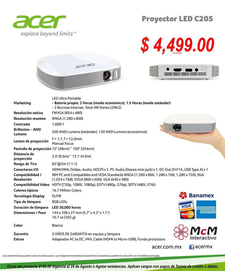 Mini Proyector Portátil Acer a solo $ 4,499.00 On Line
