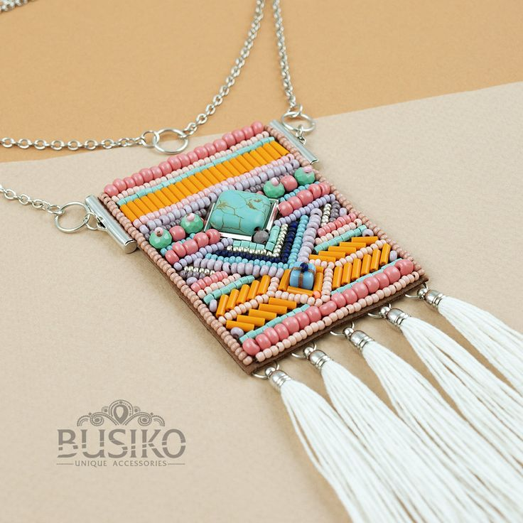 Beaded fringe tassel necklace boho style Dainty choker beads Gypsy pendant Embroidered women accessory Coral ethnic jewelry Set 3 necklaces by BusikoUA on Etsy
