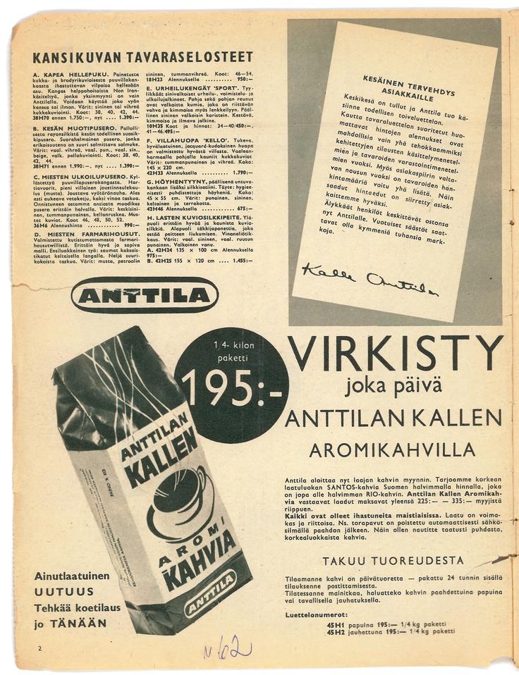 Anttilan tavaraluettelo vuodelta 1962. Virkisty joka päivä Anttilan Kallen aromikahvilla!